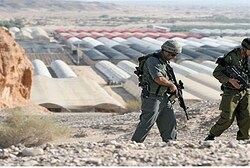 Soldiers patrol Jordanian border