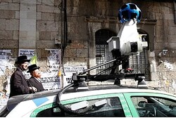 Google's 'Street View' car driviing through Mea Shearim in Jerusalem