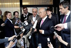 Yukiya Amano briefs the media after his trip to Tehran