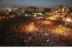 Egyptians protesting Mubarak verdict in Tahrir Square
