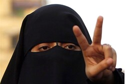 A veiled woman supporter of Muslim Brotherhood's Morsi