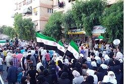 Demonstrators against Assad in Jubar near Damascus