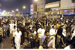 Protesters demonstrate against arrest of Shi'ite cleric in Qatif