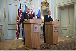 Britain's Foreign Secretary William Hague and UN Secretary-General Ban Ki-moon