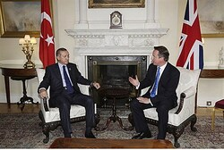 Erdogan speaks with Britain's Prime Minister David Cameron
