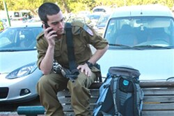 Soldier on phone (file)