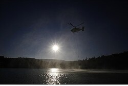 Helicopter flies over the Mediterranean near Turkey