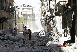 Air strike damage in Aleppo