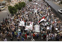 Pro-government, anti-Al Qaeda supporters in Sana'a, Yemen