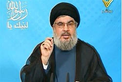 Hizbullah chief Hassan Nasrallah delivers a televised speech from an undisclosed location
