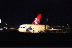 Syrian passenger plane after being forced to land at Ankara