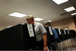 Voters cast ballots on touch-screen voting machines during in-person absentee voting in Virginia