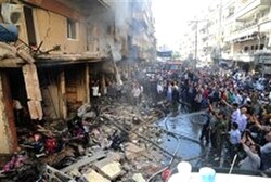 State media picture of aftermath of explosion last week in Damascus