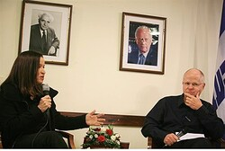 Noam Shalit and Labor leader Shelly Yechimovich
