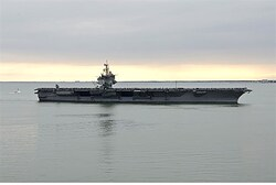 Aircraft carrier USS Enterprise returns to home base at Naval Station Norfolk