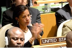 U.S. ambassador Susan Rice applauds Israeli ambassador Prosor's speech