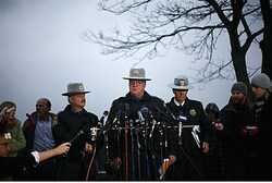 State Police spokesman Lieutenant J. Paul Vance speaks to the media in Newtown, Connecticut