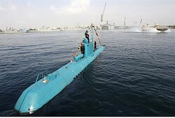 An Iranian Qadir light submarine is seen in Gulf waters