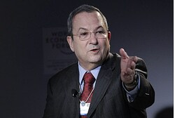 Barak addresses delegates at the annual meeting of WEF in Davos