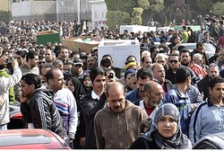 Mourners in Port Said
