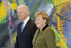 German Chancellor Angela Merkel and U.S. Vice President Joe Biden