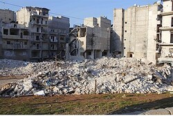 Damaged buildings in the Al-Massir area in Aleppo