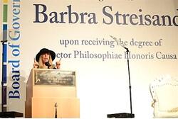Barbra Streisand speaking at Hebrew University