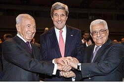 Shimon Peres, John Kerry and Mahmoud Abbas at the World Economic Forum in Amman, 2013