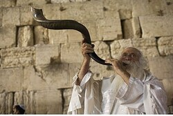 Blowing the shofar at the Kotel (Western Wall)