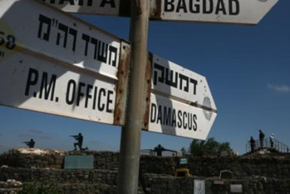 Signs at abandoned military post in Golan