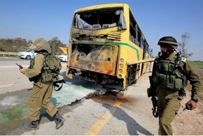 Remains of school bus attacked by Hamas