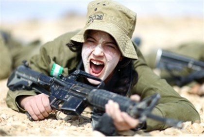 Woman in combat training.