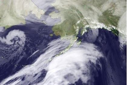 NOAA satellite photo shows storm over Bering Strait