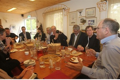 Christian clergyman have lunch in Judea and Samaria