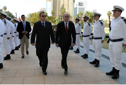 Cypriot Defense Minister Demetrius Eliades and Defense Minister Ehud Barak