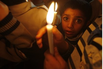 Children in Gaza during power outage