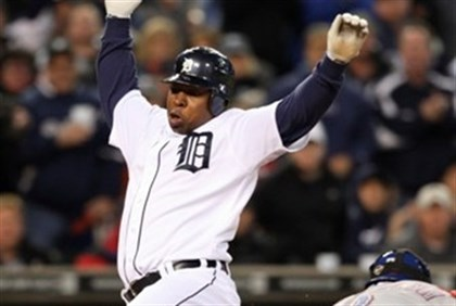 Delmon Young hits home plate -- before 'foul' assault