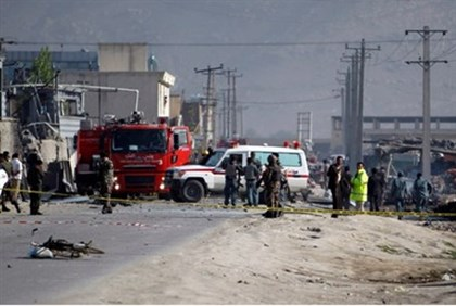Aftermath of suicide bombings in Kabul Tuesda