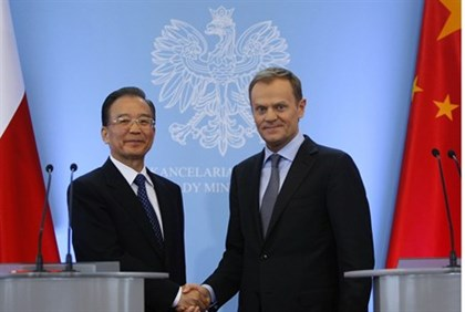 Donald Tusk with Wen Jiabao