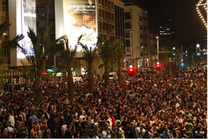 Tel Aviv protesters Saturday night