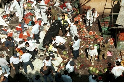 Aftermath of Intifada suicide bombing