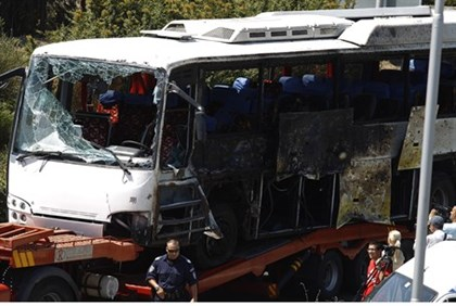 Bus that was damaged in Burgas bomb blast
