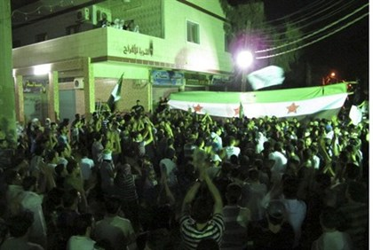 Protest in Kfr Suseh area of Damascus on August 8 2012