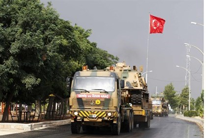 Turkish military convoy in Gaziantep province near Syrian border