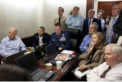 File handout photo shows U.S. President Barack Obama with members of the national security team in t