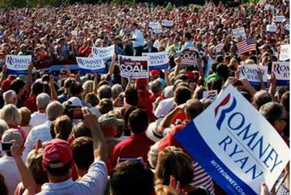 Mitt Romney speaks at a campaign rally in Ohio