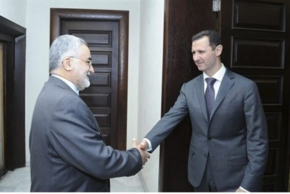 Assad meets Alaeddin Boroujerdi of Iran