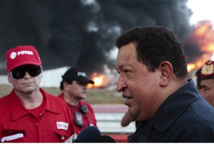 Chavez at refinery