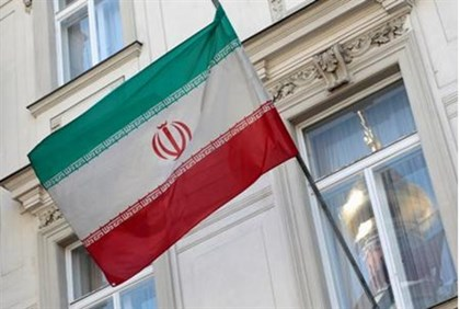The Iranian flag is pictured at the Iranian embassy in Vienna