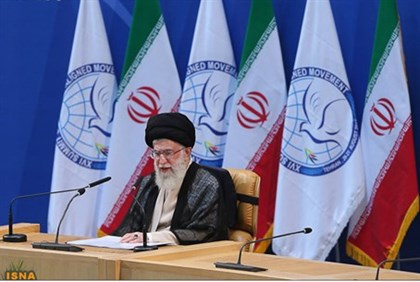 Iran's Supreme Leader Ayatollah Ali Khamenei speaks during the 16th summit of the Non-Aligned Moveme